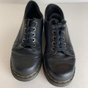 Dr Doc Marten Distressed Platform Leather Oxfords